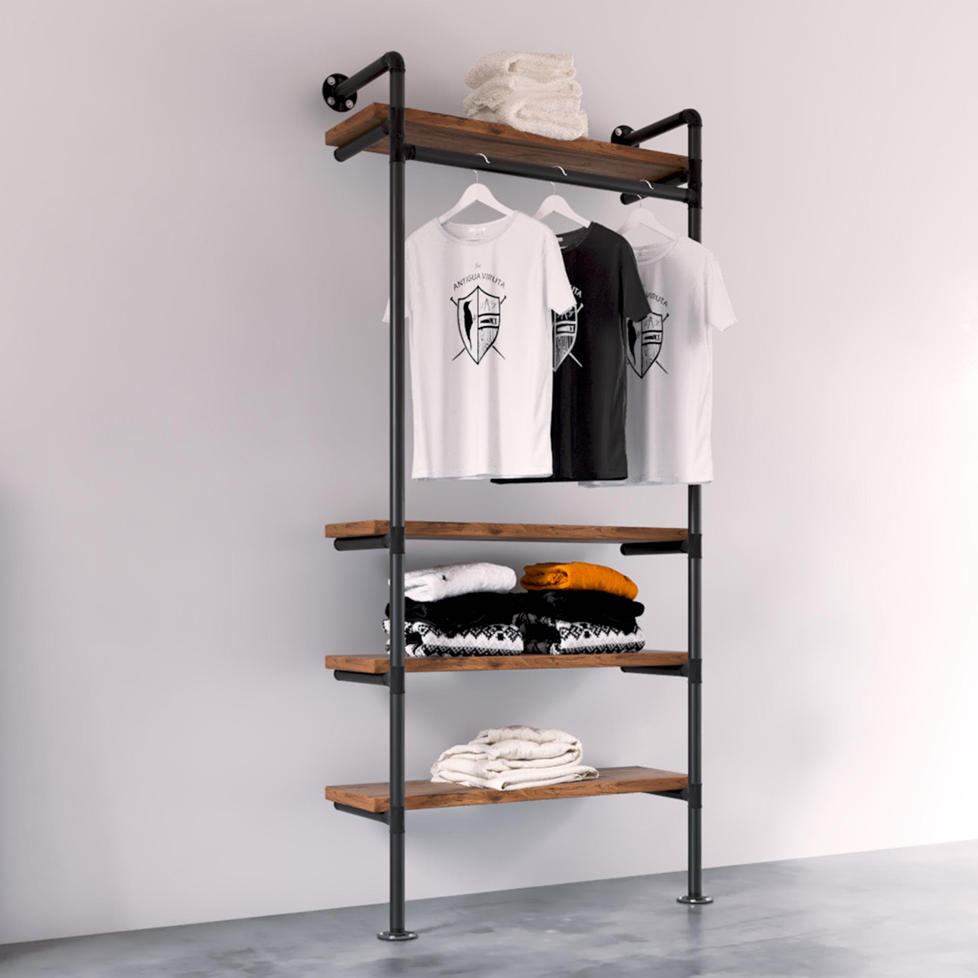 Modelo alpha burro ropa estilo industrial vintage tienda gondola rack La Antigua Viruta