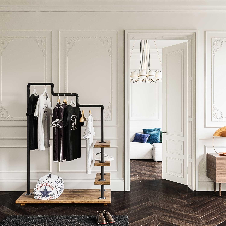 Burros ropa anclados a pared para tienda
